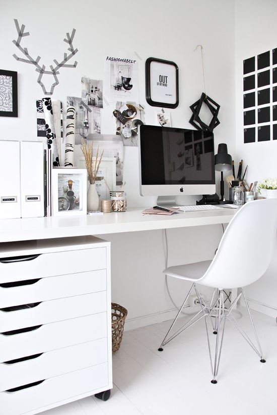 white office chair desk