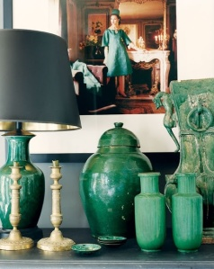 green vase jar lamp