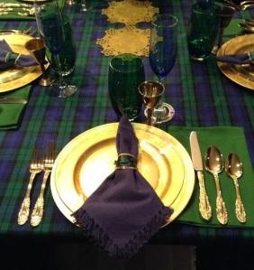 plates table cutlery gold tartan