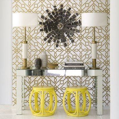 black and yellow foyer