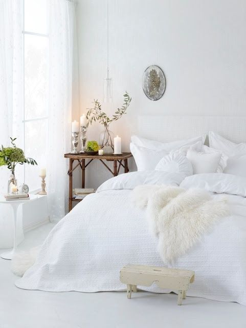 white bed sheets
