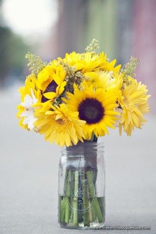 sunflowers mason jar
