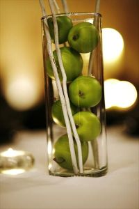 vase jar apple centerpiece