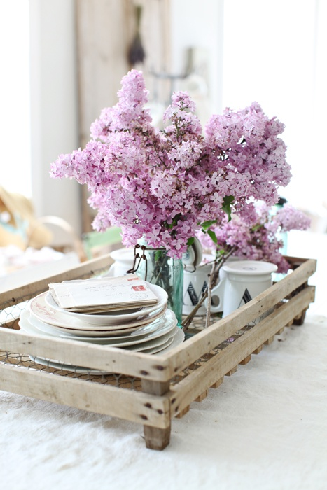 breakfast in bed tray plates cups flowers