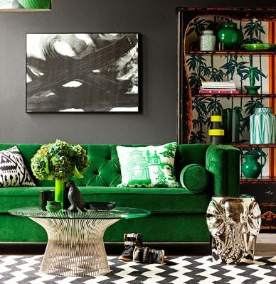 green couch pillow art table