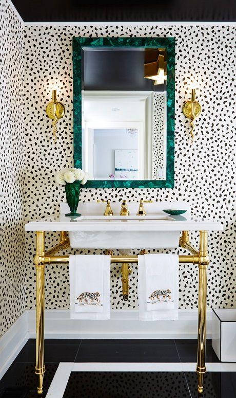 bathroom powder room towels mirror