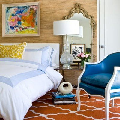 blue chair guestroom bedroom
