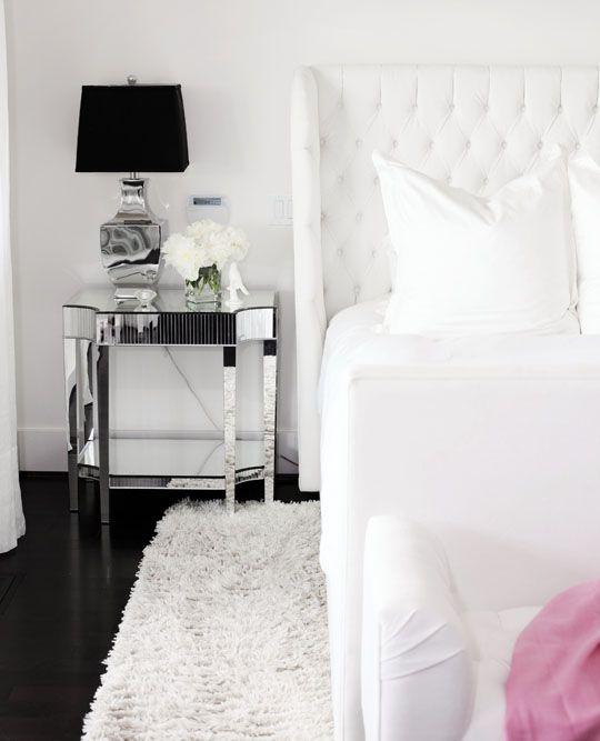 white guestroom bedroom mirrored nightstand