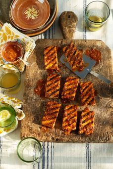 Seared tofu with date barbecue sauce recipe: http://www.theguardian.com/lifeandstyle/2012/may/22/vegan-barbecue?newsfeed=true