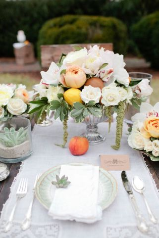 Peaches and mint green table setting. Design by ElissaKeno.com shot by www.kelliekano.com/